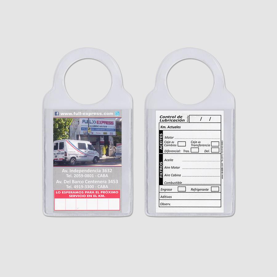 Re-ciclo Tarjetas para Cambio de Aceite PVC Cristal - full express