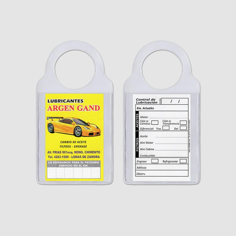 Re-ciclo Tarjetas para Cambio de Aceite PVC Cristal - lubricantes argen gand