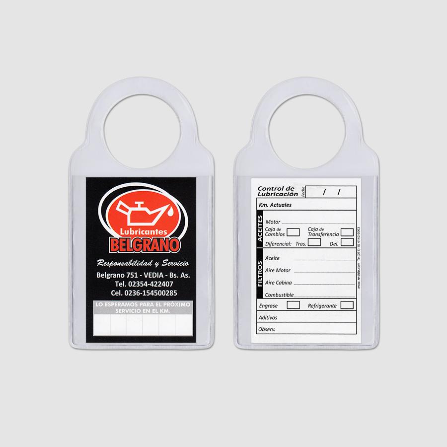 Re-ciclo Tarjetas para Cambio de Aceite PVC Cristal - lubricantes belgrano